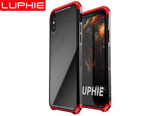 iphone X Double Dragon Plastic frame + Transparent tempered glass back cover original luxury case