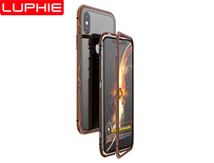 IPHONE X Wood Grain Magneto 9H tempered glass back cover Aviation aluminum metal bumper